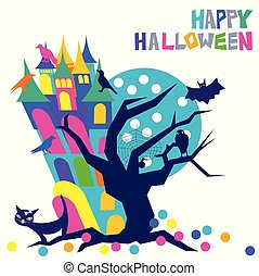 Happy Halloween colorful typography with a mysterious haunted stooping house with eerie windows and a spooky crooked tree with a spider web and owl and a flying bat near a full blue moon