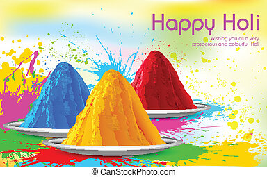 Colorful Happy Holi - illustration of colorful gulal (...