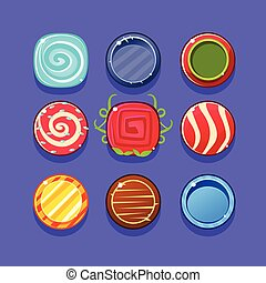 Colorful Hard Candy Flash Game Element Templates Design Set With Colorful Round Sweets For Three In The Row Type Of Video Game