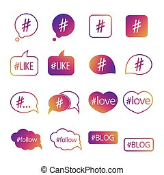 Colorful hashtag post social media vector icons