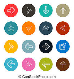 Colorful Hatched Arrows Set in Circles Vector Illustration