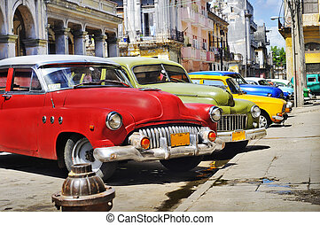 Colorful Havana cars - Detail of colorful group of vintage...