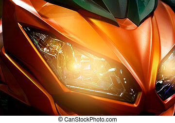 Colorful headlights modern motorcycle
