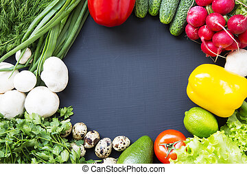 Colorful healthy food background. Top view. Flat lay. From above.