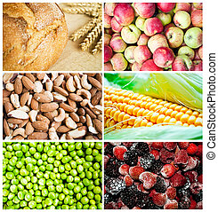 Colorful healthy food collage