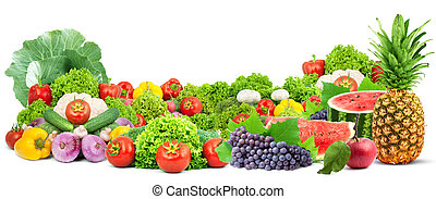 Colorful healthy fresh fruits and vegetables. Shot in a ...