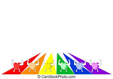Colorful healthy hearts showing strength on rainbow striped background. LGBT colors.