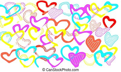 colorful heart background in red pink yellow and orange