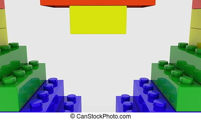 Colorful heart concept build from toy bricks