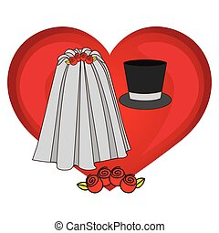 colorful heart costume veil bride with hat groom