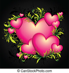 Colorful Heart - illustration of heart with floral swirls on...