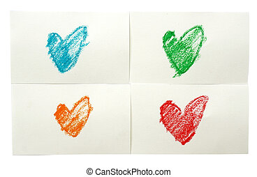 colorful heart love. Art crayon ske