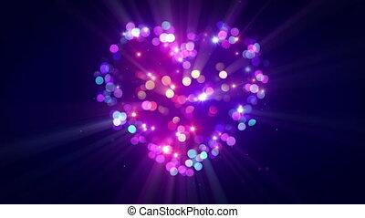 Colorful heart shape disco flashing loopable animation