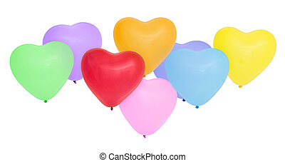 Colorful heart shaped balloons.