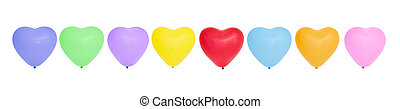 Colorful heart-shaped balloons in a row.