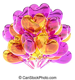 colorful heart shaped party balloons purple yellow translucent