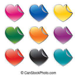 Colorful heart shaped vector sticke