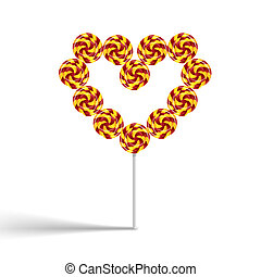 Colorful heart swirly lollypop