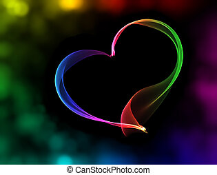 colorful heart with bokeh lights
