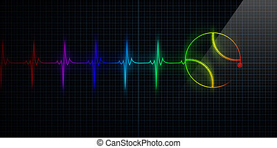 Colorful Heartbeat Monitor with baseball