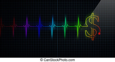 Colorful Heartbeat Monitor with Dollar