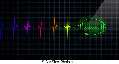 Colorful Heartbeat Monitor with football