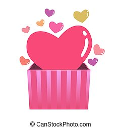 Colorful Hearts Coming Out From a Box
