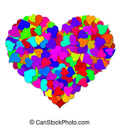Colorful Hearts Forming Big Valentines Day Heart