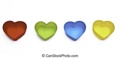 colorful hearts isolated on white background