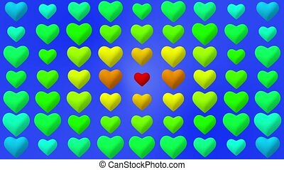 Colorful hearts on blue