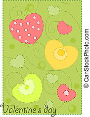 Colorful hearts on green background - wallpaper for valentines day.