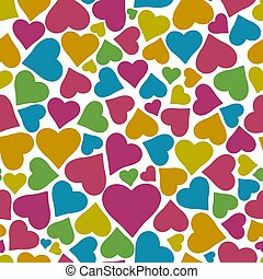 Colorful hearts seamless pattern.
