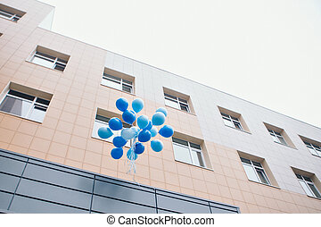 colorful helium balloons fly in the sky. Concept of happy birth day in summer and wedding, honeymoon party use for background. Vintage color tone style
