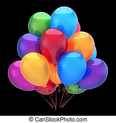 Colorful helium balloons, happy birthday party decoration