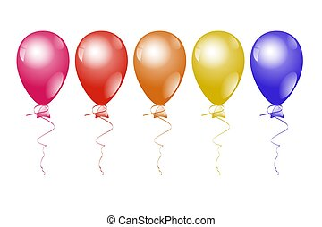 Colorful helium balloons on a white background