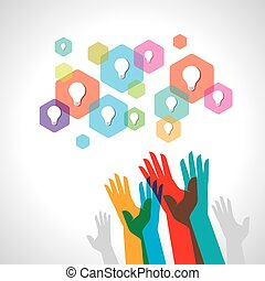 Colorful helping hand background