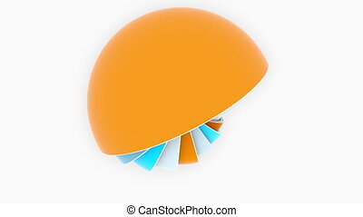 Colorful hemispheres or bowls fit each other. 3D design,...