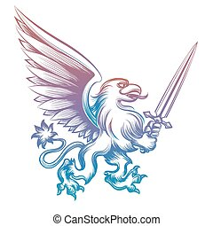 Colorful heraldy griffon with sword