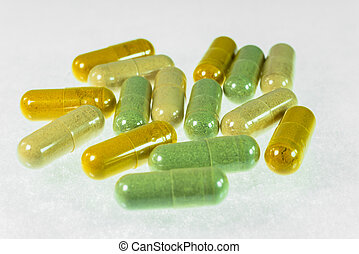 colorful herbal medicinal capsules