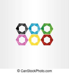 colorful hexagon icon vector frame set