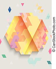 Colorful hexagon on gray background