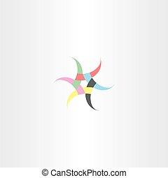 colorful hexagon star design vector symbol