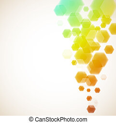 Colorful hexagons vector background with copy space.
