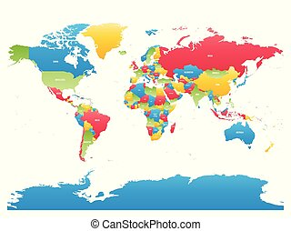 Colorful high detailed map of World. Vector illustration