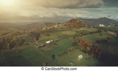 Colorful high mountain rural scenery aerial view - Colorful...