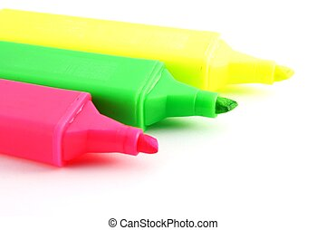 Colorful highlighter pens. - Colorful highlighter pens...