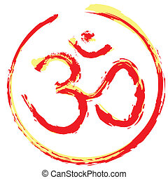 Colorful Hindu Om icon - Hindu om or aum icon illustration...