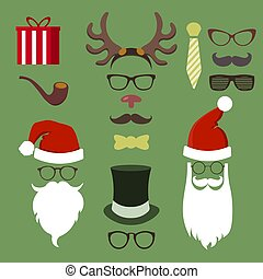 Colorful Hipster Merry Christmas icon set with glasses and vintage elements. EPS10 vector file organized in layers for easy editing.