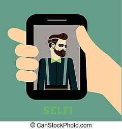 Colorful Hipster Selfie Concept