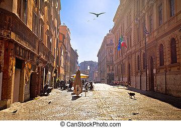 Colorful historic street of Rome sun haze view